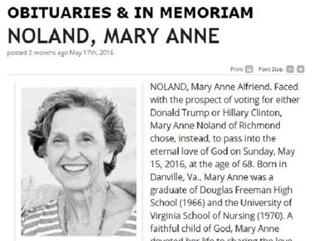 US presidential elections,WOman chooses to die instead of voting for Trump or Clinton,DOnald Trump