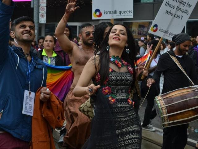 Actress Celina Jaitly at the Toronto Pride parade last year where she was an international grand marshal.