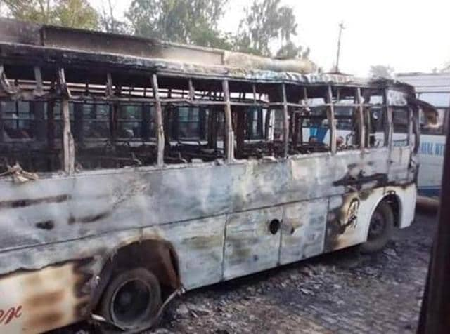 A private bus burnt at Malerkotla bus stand.