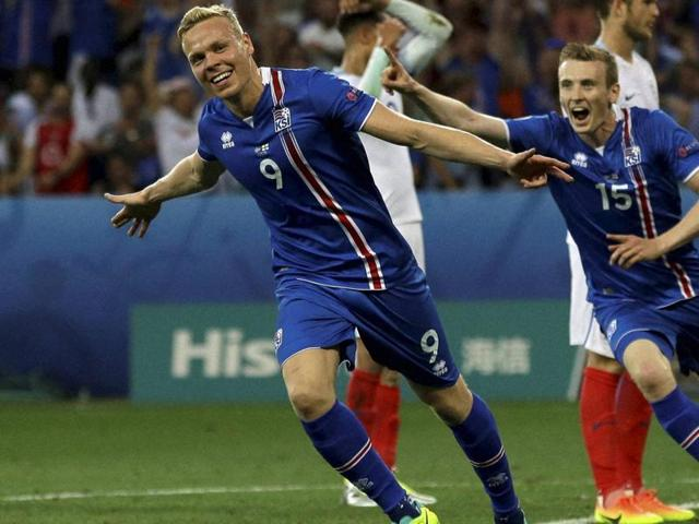 Iceland's Kolbeinn Sigthorsson celebrates after scoring the winner during the Euro 2016 round of 16 match against England.