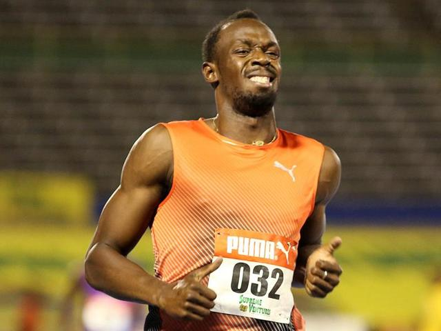 Winner Usain Bolt of Jamaica upset after his quarter final 100m race.
