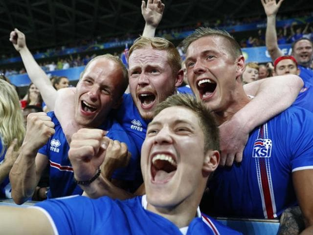 Iceland fans before the game against France.
