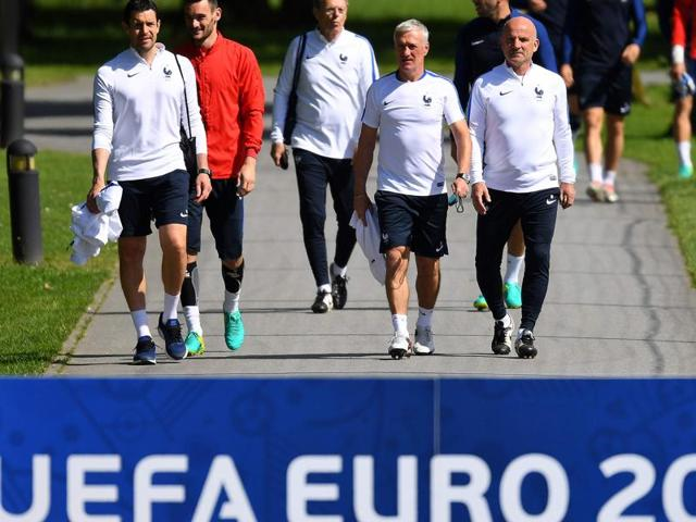 France coach Didier Deschamps overlooks a a training session of the French national team at the Clairefontaine training centre, outside Paris, France.