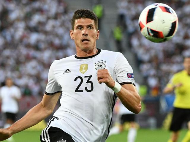 A file photo of Germany's forward Mario Gomez playing the ball during the Euro 2016.