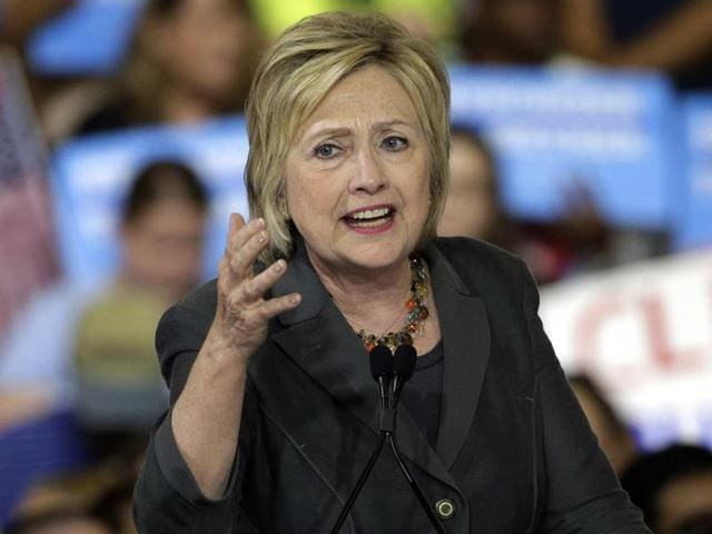 Democratic presidential candidate Hillary Clinton speaks during a rally in Raleigh, NC.