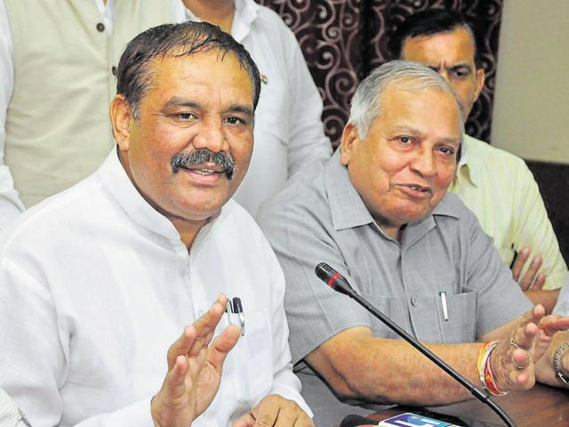 Union minister of state and Punjab BJP president Vijay Sampla (left) in Jalandhar on Satruday.