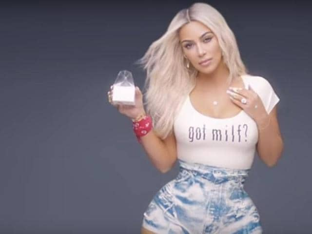 Kim Kardashian has been slammed on social media for her tiny waist in the new Fergie MILF$ music video.