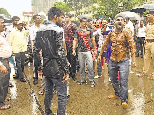 Supporters of Prakash Ambedkar protested against the demolition of Ambedkar Bhavan by its trustees on June 25. A rasta roko was held at Ambedkar Road.