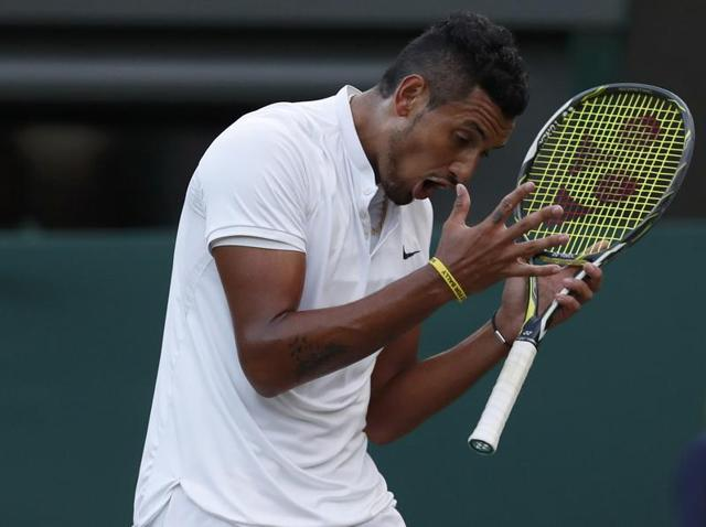 Nick Kyrgios rants during his match against Feliciano Lopez.