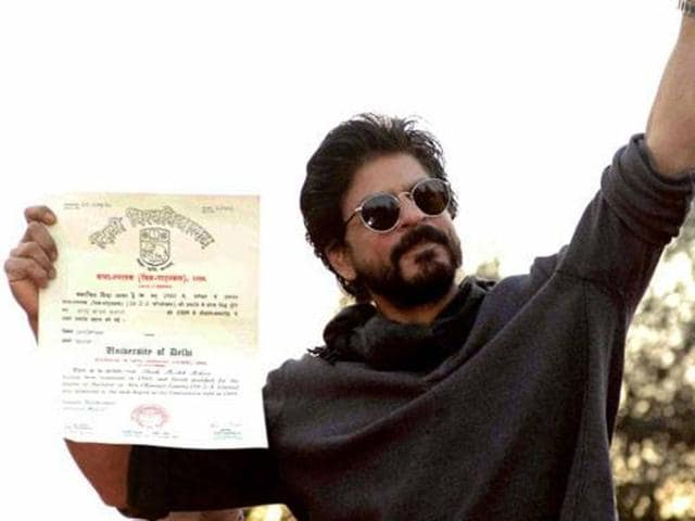 Shah Rukh Khan collected his degree fromHans RajCollege inFebruary this year, a good 28 years after graduating.