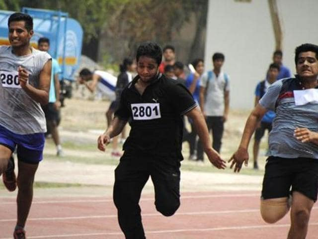 College students take part in an athletics event.