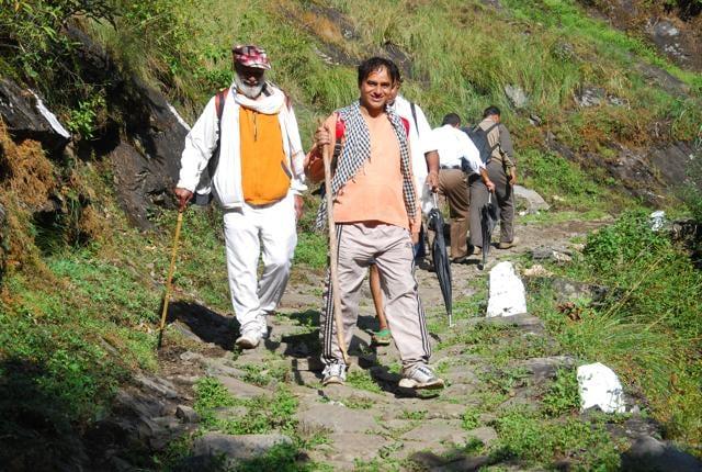 Pilgrims return from the Kedarnath shrine in Uttarakhand.