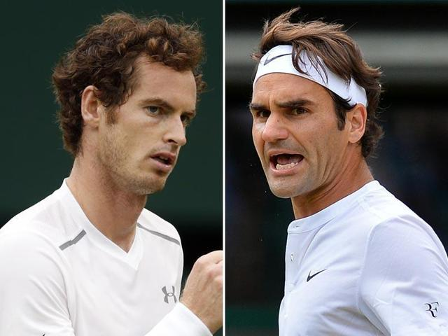 A composite photograph of Andy Murray, left, and Roger Federer.
