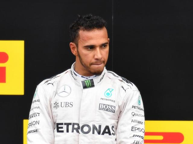 Mercedes driver Lewis Hamilton of Britain looks on, at the Austrian Grand Prix on Sunday, July 3, 2016.