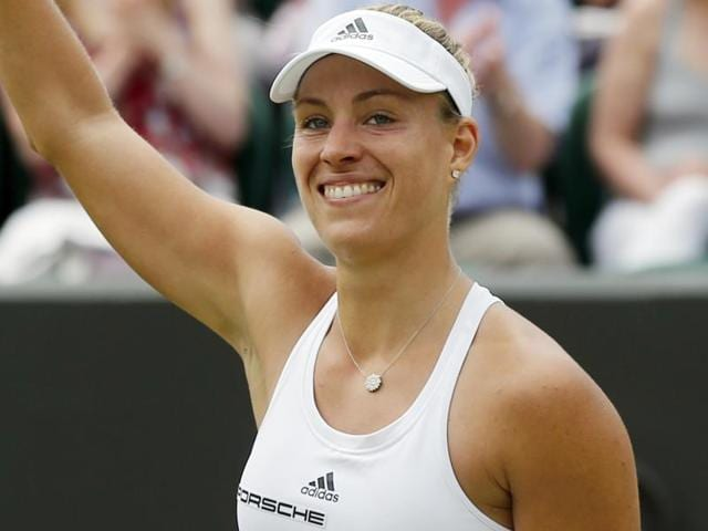 Angelique Kerber of Germany celebrates after beating Misaki Doi of Japan in their women's singles match.