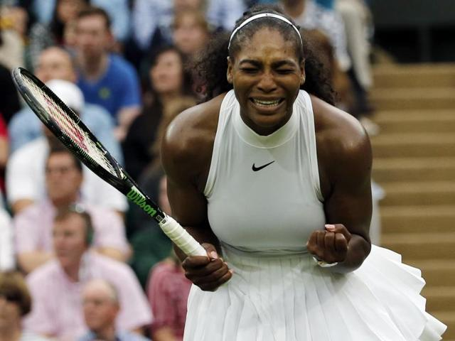 US player Serena Williams returns to US player Christina McHale during their women's singles match.