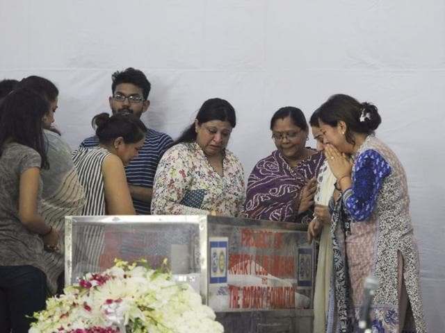 Relatives of Tarishi Jain, who was killed by militants in Dhaka, attend her funeral in DLF-Phase l in Gurgaon.
