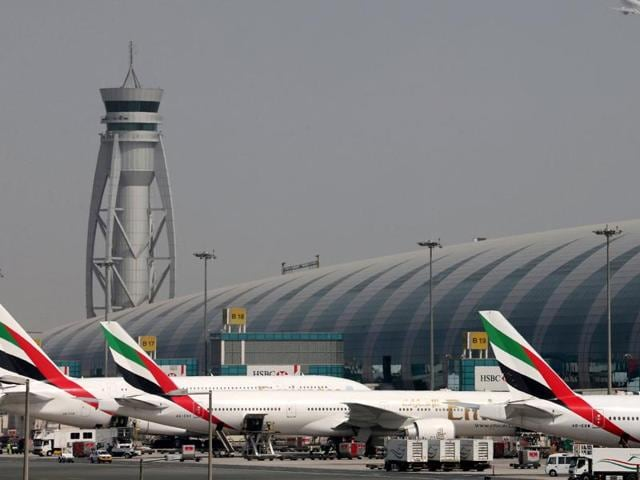 FILE PHOTO of  Emirates Airlines aircrafts at Dubai Airport. A Pakistani-origin man was jailed in UK for shouting 'Allah-o-Akbar' on board an Emirates flight in February, 2016.