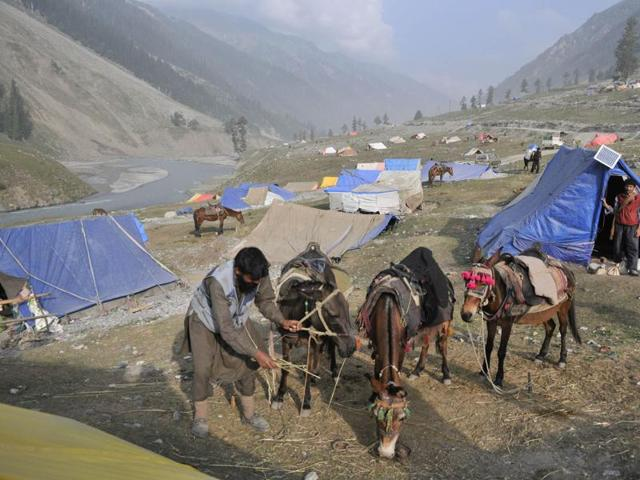 Kashmiri Muslim horsemen, commonly called ponywalahs, at the Baltal base camp of the Amarnath Yatra.