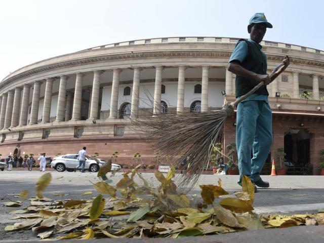 In this file photo, a sweeper can be seen cleaning the Parliament complex.