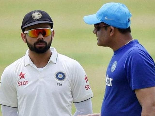Bengaluru : India Test skipper Virat Kohli and coach Anil Kumble addressed a press conference in Bengaluru before departing for the tour of West Indies.
