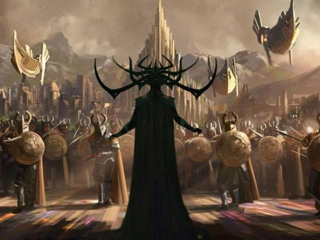 A piece of concept art from Thor: Ragnarok showing Cate Blanchett's villain.