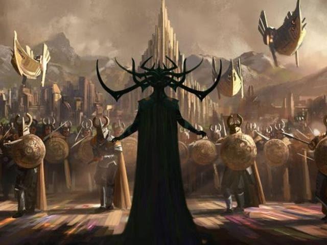 A piece of concept art from Thor: Ragnarok showing Cate Blanchett's villain.