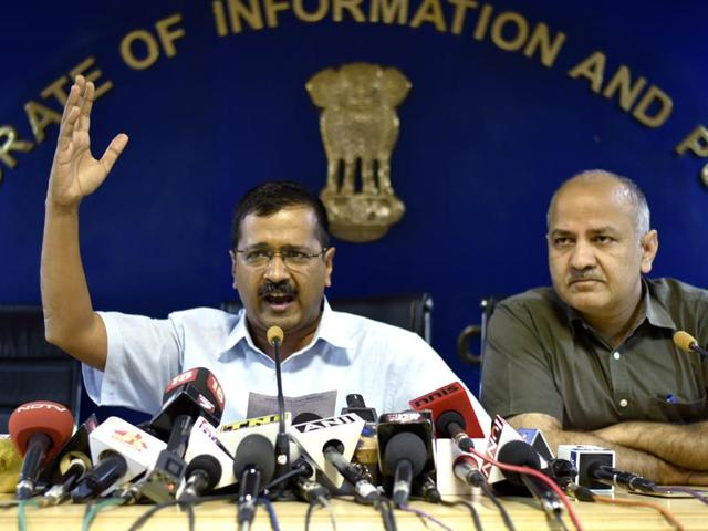 Delhi chief minister, Arvind Kejriwal with his deputy, Manish Sisodia. Kejriwal and his Aam Aadmi Party have accused the Centre of interfering with Delhi government functioning.