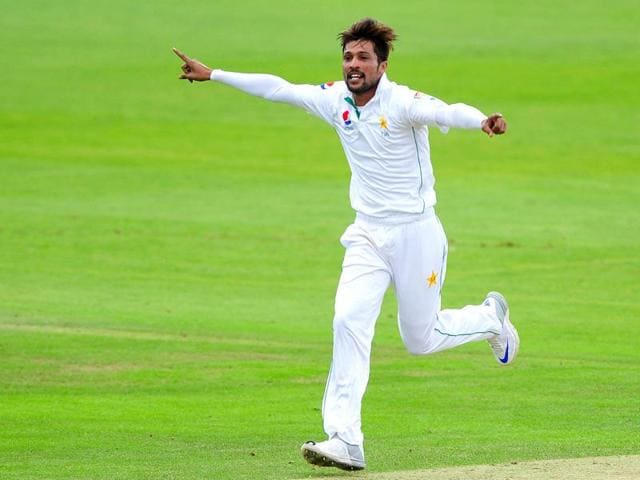 Pakistan's Mohammad Amir celebrates taking a wicket during day two of the Somerset versus Pakistan tour match at the County Ground, Taunton, south western England.