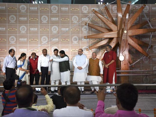 World's largest charkha unveiled at Delhi airport's terminal 3