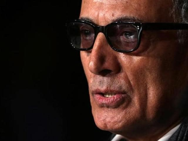 Director Abbas Kiarostami speaks during a news conference for the film Like Someone in Love in competition at the 65th Cannes Film Festival in 2012. (Reuters).