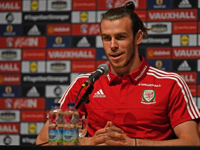 Wales' forward Gareth Bale celebrates after the Euro 2016 quarter-final football match.