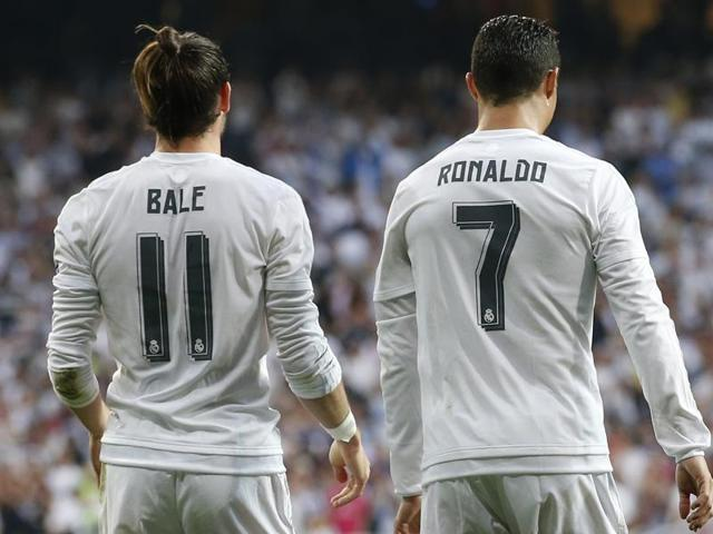 Gareth Bale celebrates with Cristiano Ronaldo after scoring a goal for Real Madrid at Estadio Santiago Bernabeu, Madrid, Spain.