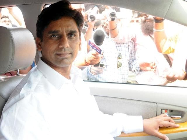 AAP MLA Naresh Yadav leaving after his questioning for five hours by police in Patiala on Tuesday.