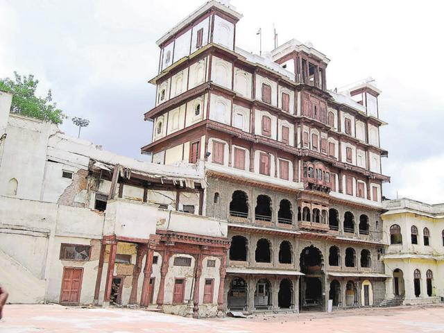 The historical Rajwada Palace after the collapse on Monday.