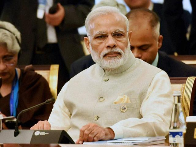 File photo of PMModi. In a free-wheeling, hour-long interaction with journalists on July 4, 2016,  Modi spoke on governance, the economy, terrorism, and his relationship with the opposition Congress.