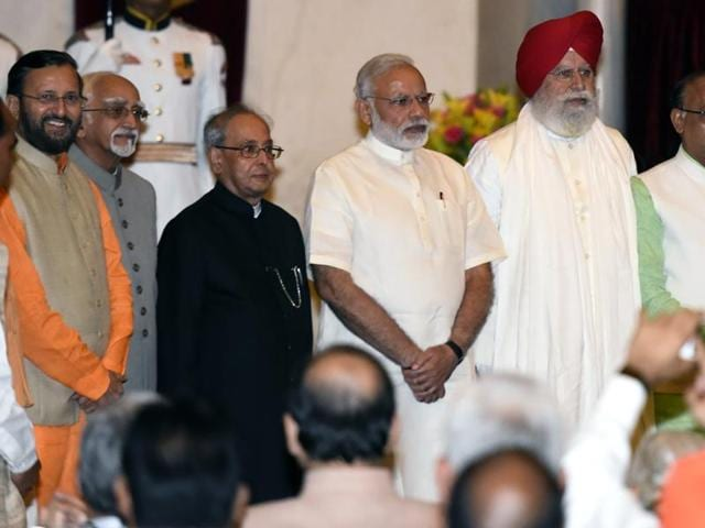 Along with Prime Minister Narendra Modi, Uttar Pradesh now has 16 ministers in keeping with the 71 MPs that the BJP got from the state in the 2014 parliamentary polls.(Sonu Mehta/HT Photo)