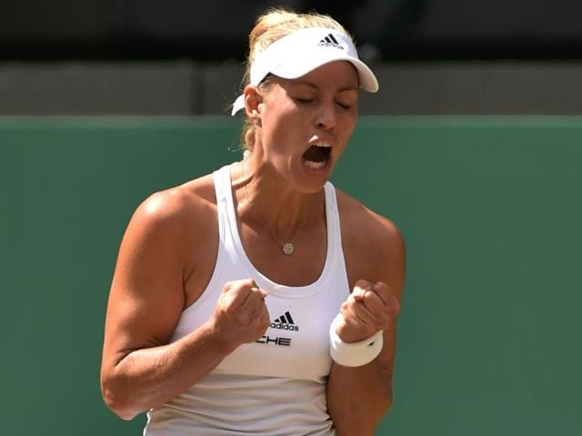 Angelique Kerber celebrates her win over Simona Halep.