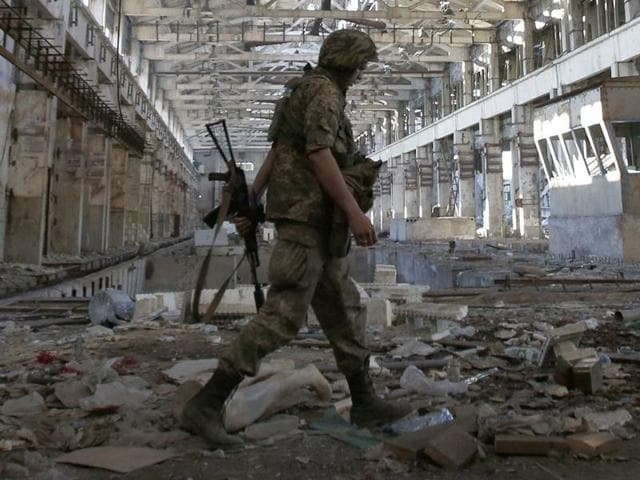 Battle-hardened Ukrainian troops are playing their own tournament against locals near the front in the war scarred east.