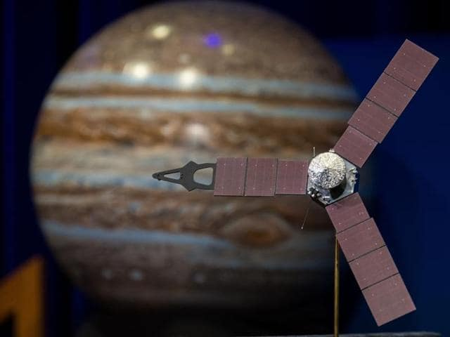 The Juno mission launched August 5, 2011 arrived at Jupiter July 4, 2016 to orbit the planet for 20 months and collect data on the planetary core, map the magnetic field, and measure the amount of water and ammonia in the atmosphere.