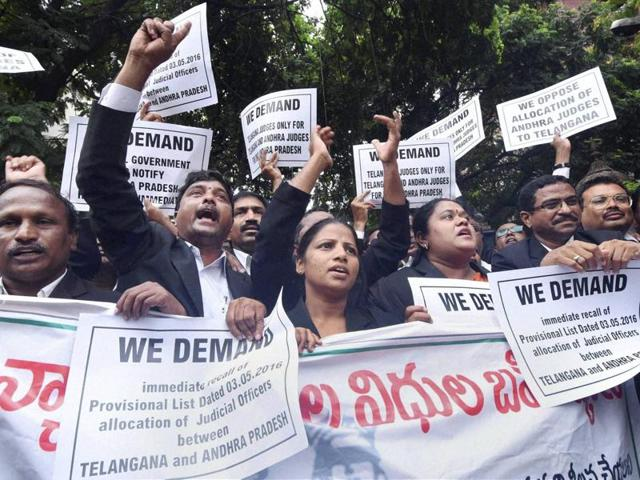 Around 200 judicial officers went on the mass leave amid the agitation against the appointment of judges from Andhra Pradesh to Telangana courts.