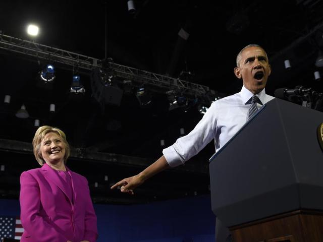 President Barack Obama and Democratic presidential candidate Hillary Clinton at a campaign event at the Charlotte Convention Center in Charlotte, NC.