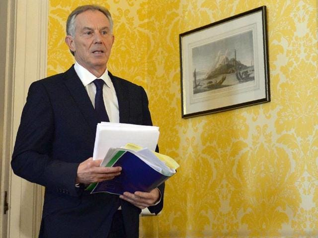 Former Prime Minister Tony Blair arrives to speak at a news conference in London on July 6, 2016, following the outcome of the Iraq Inquiry report.