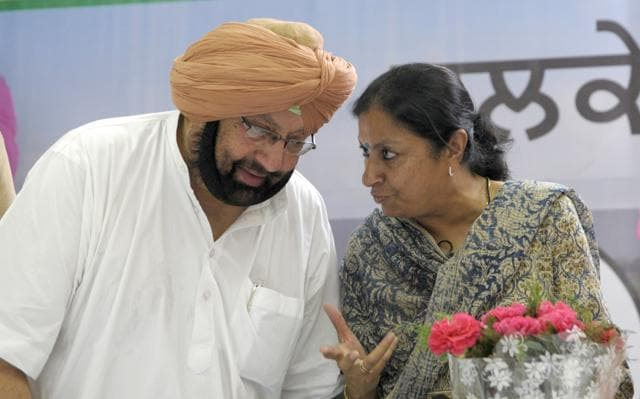 Punjab Congress in-charge Asha Kumari with state party president Capt Amarinder Singh in Chandigarh on Tuesday.