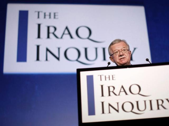 This file photo shows John Chilcot, the chairman of the Iraq Inquiry, outlining the terms of reference for the inquiry and explains the panel's approach to its work during a news conference in London.