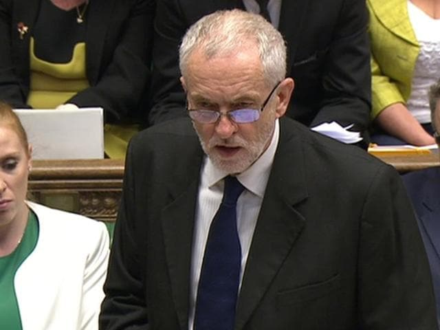 A still image from video shows Britain's Labour Party leader Jeremy Corbyn speaking to the House of Commons during Prime Minister's questions in London on Wednesday. Corbyn apologised on behalf of the then ruling Labour party's decision to go to war in Iraq.