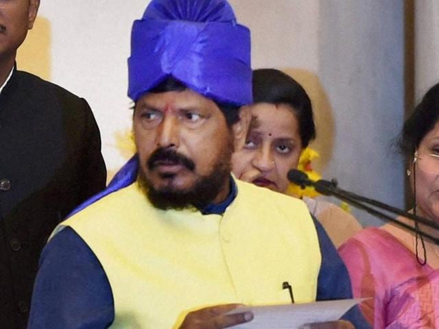 RPI chief Ramdas Athawale was sworn in as the minister of state (social justice and empowerment) on Tuesday.