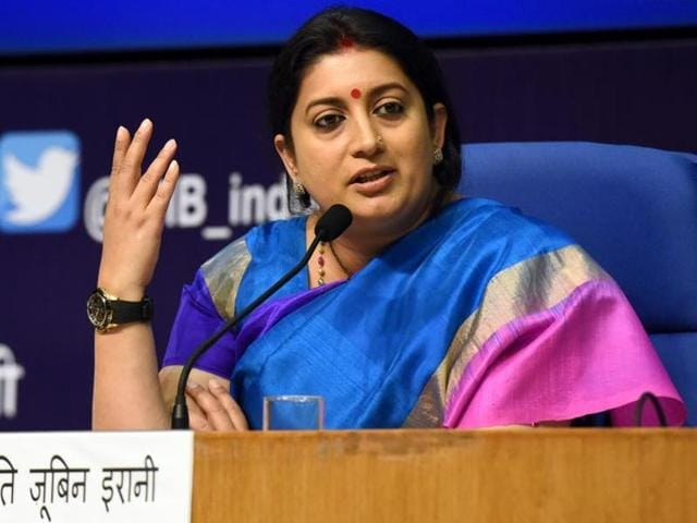 Smriti Zubin Irani has been shifted from the HRD ministry to the textiles ministry.(HT File Photo)