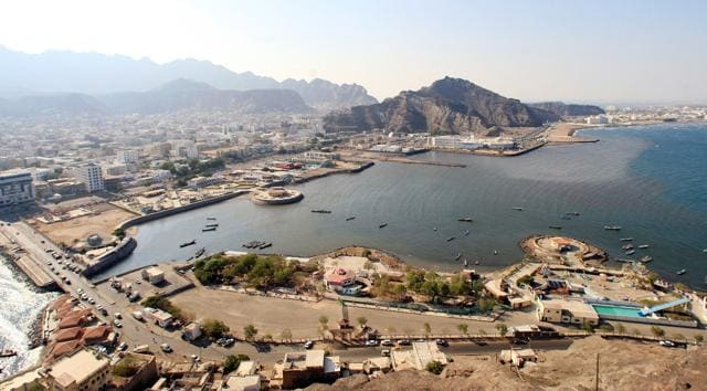 An aerial view shows Aden's City in southern Yemen.
