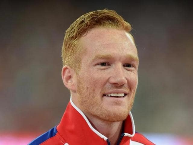 Aug 26, 2015; Beijing, China; Greg Rutherford (GBR) poses after winning the long jump during the IAAF World Championships in Athletics at National Stadium. Mandatory Credit: Kirby Lee-USA TODAY Sports
